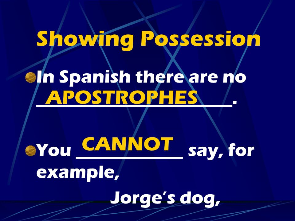 Showing Possession APOSTROPHES CANNOT