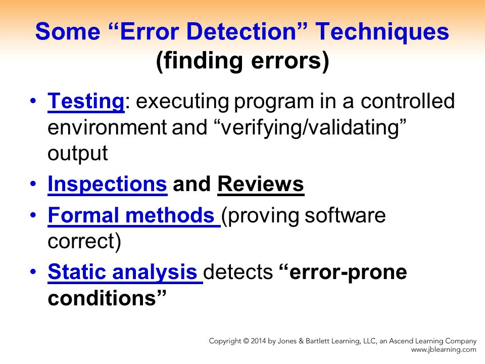 Some Error Detection Techniques (finding errors)