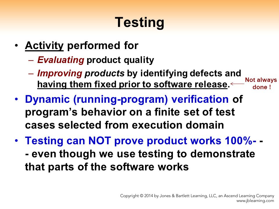 Testing Activity performed for