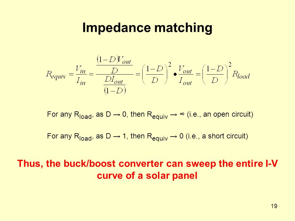 Impedance matching For any Rload, as D → 0, then Requiv → ∞ (i.e., an open circuit) For any Rload, as D → 1, then Requiv → 0 (i.e., a short circuit)