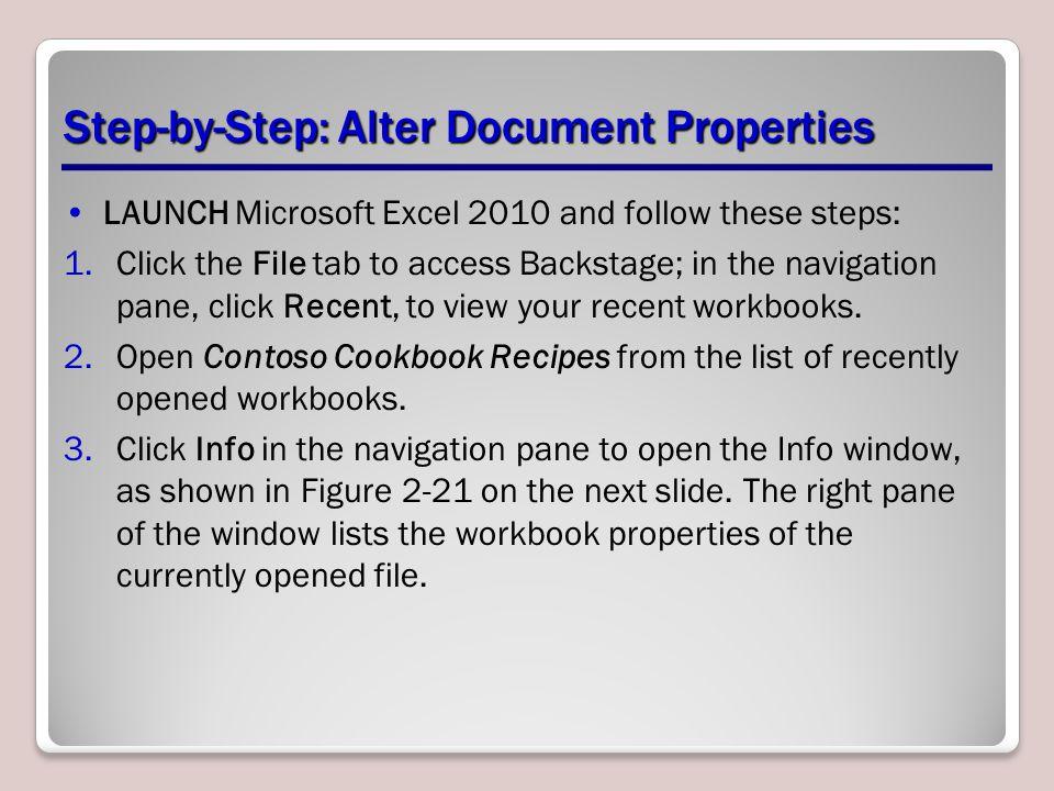 document properties excel 2010