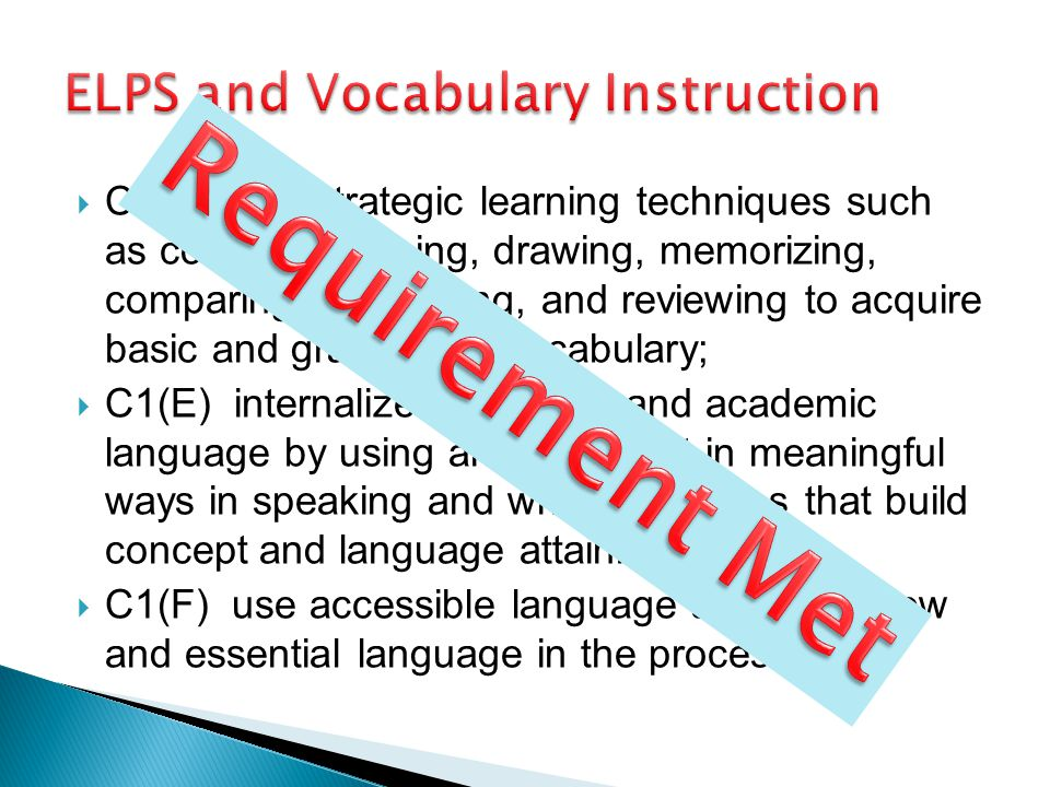 ELPS and Vocabulary Instruction