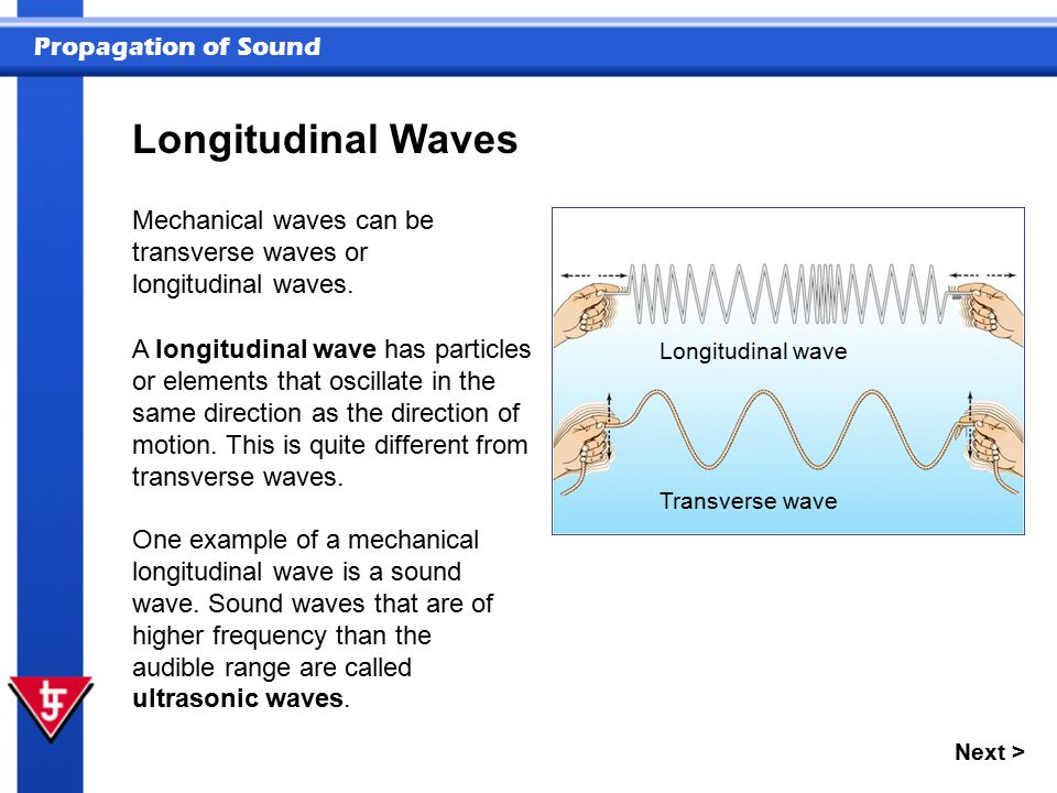 Longitudinal Waves Mechanical waves can be transverse waves or longitudinal waves.