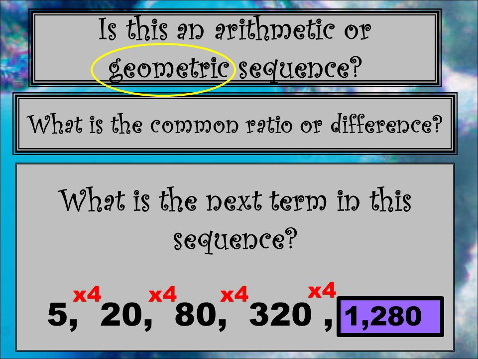 What is the next term in this sequence 5, 20, 80, 320 , _____