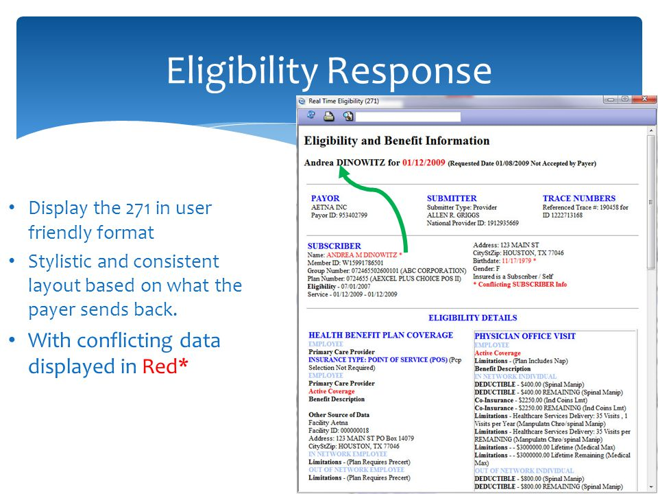 Eligibility Response With conflicting data displayed in Red*