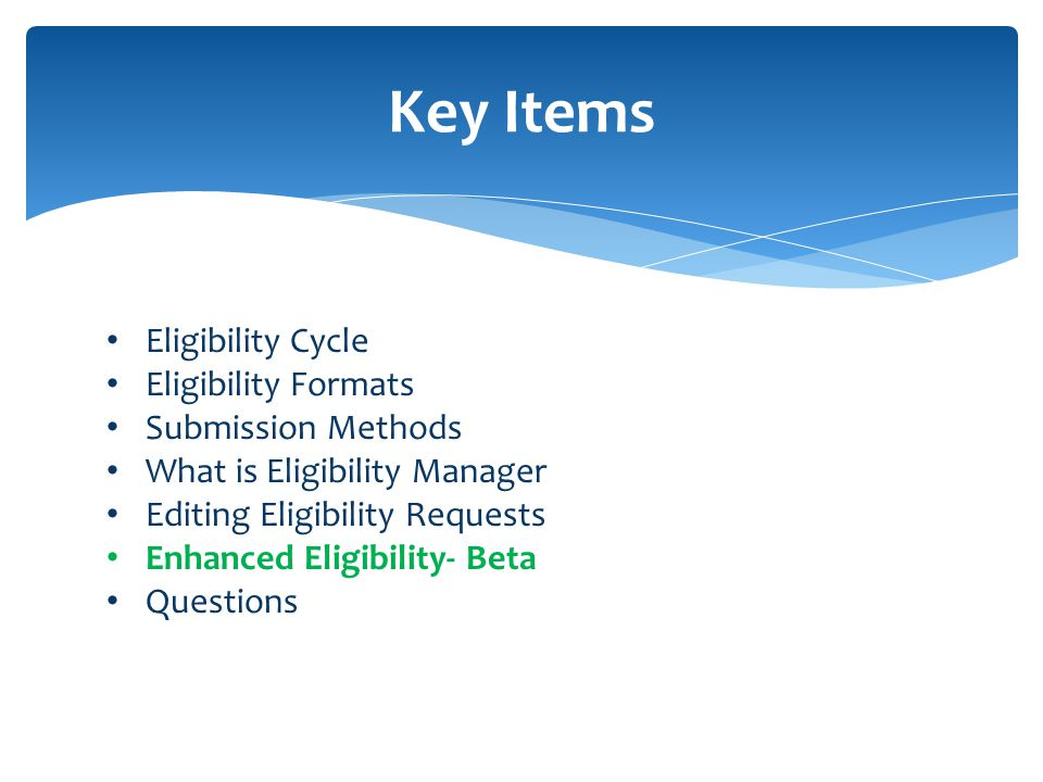 Key Items Eligibility Cycle Eligibility Formats Submission Methods