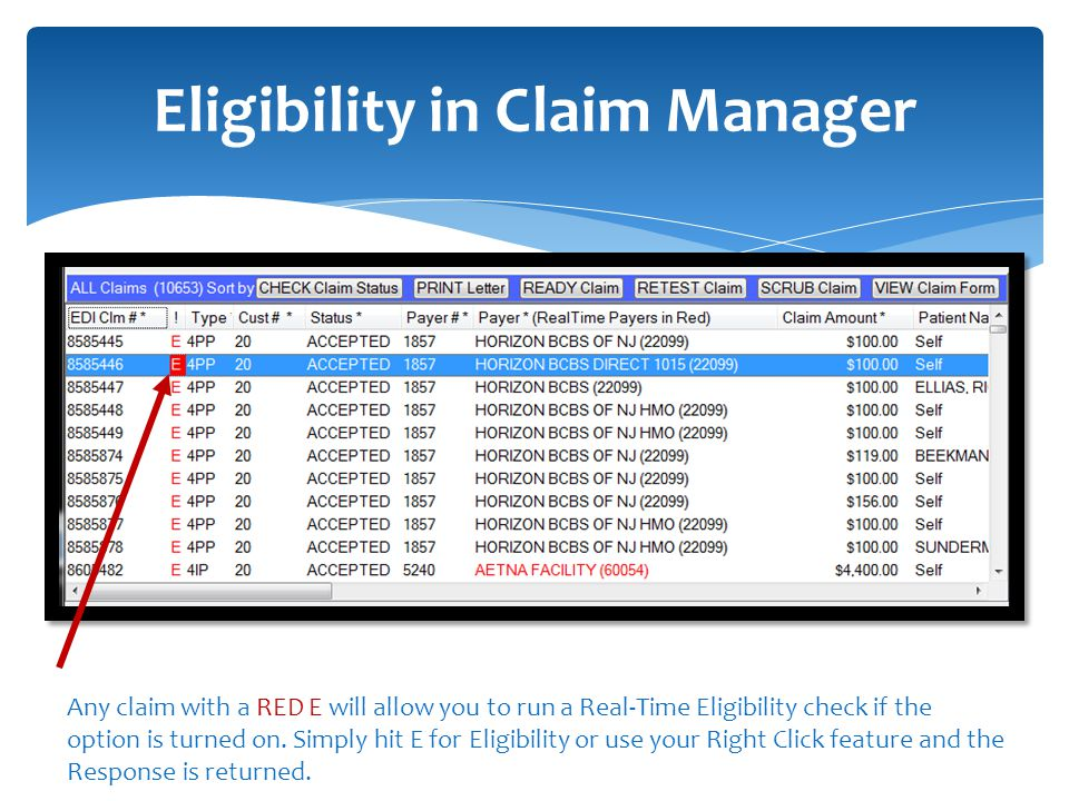 Eligibility in Claim Manager