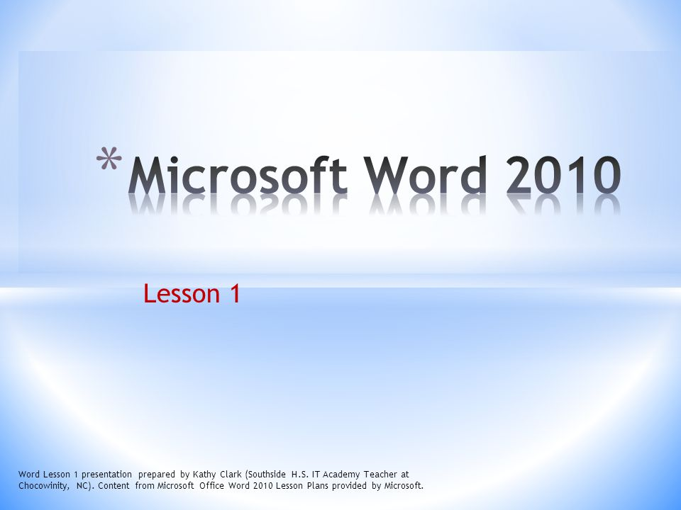 Microsoft Word 2010 Lesson 1.