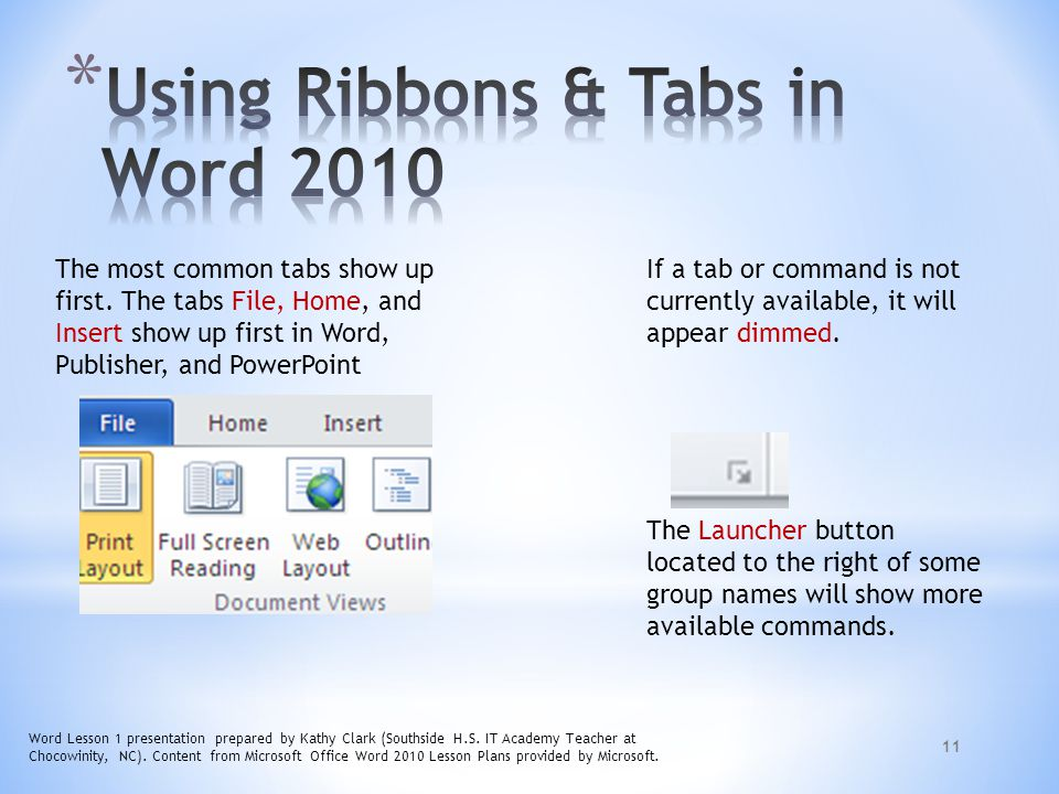Using Ribbons & Tabs in Word 2010
