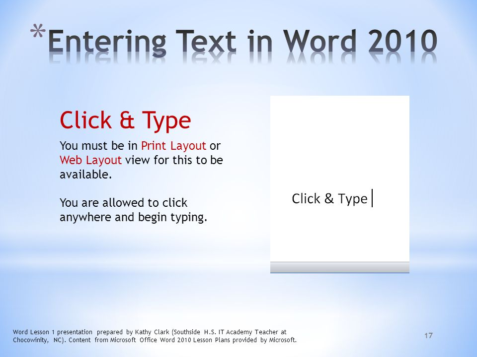 Entering Text in Word 2010 Click & Type