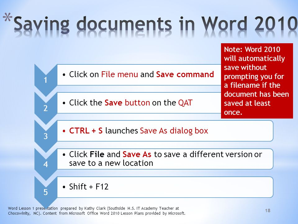 Saving documents in Word 2010