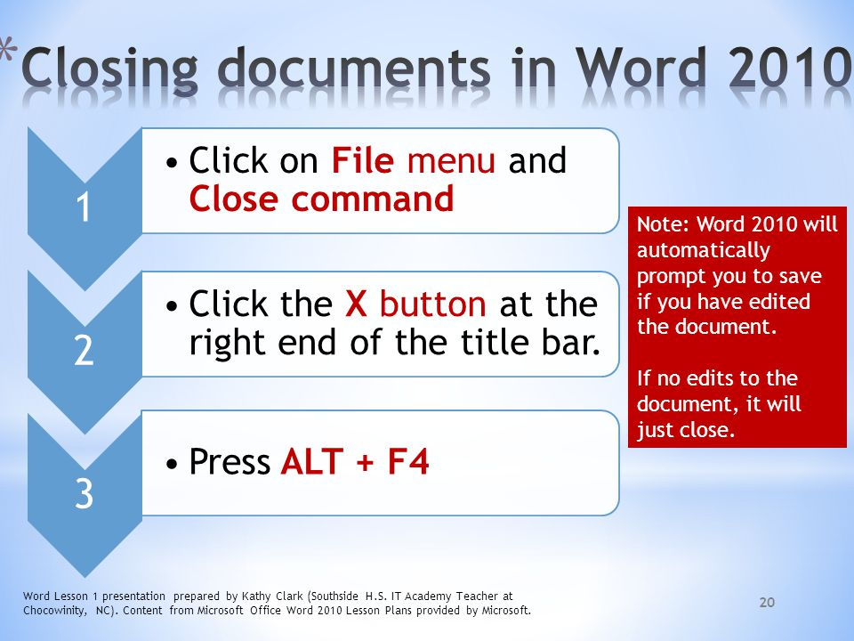 Closing documents in Word 2010