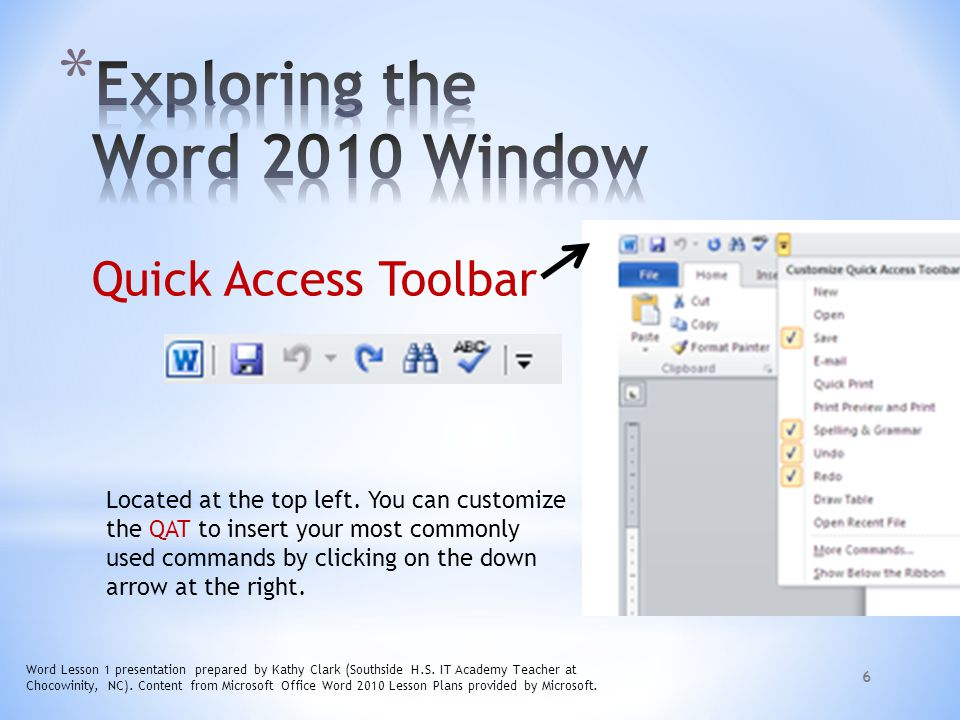 Exploring the Word 2010 Window
