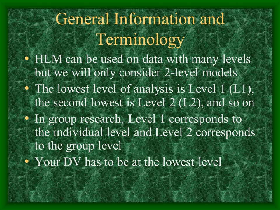 General Information and Terminology