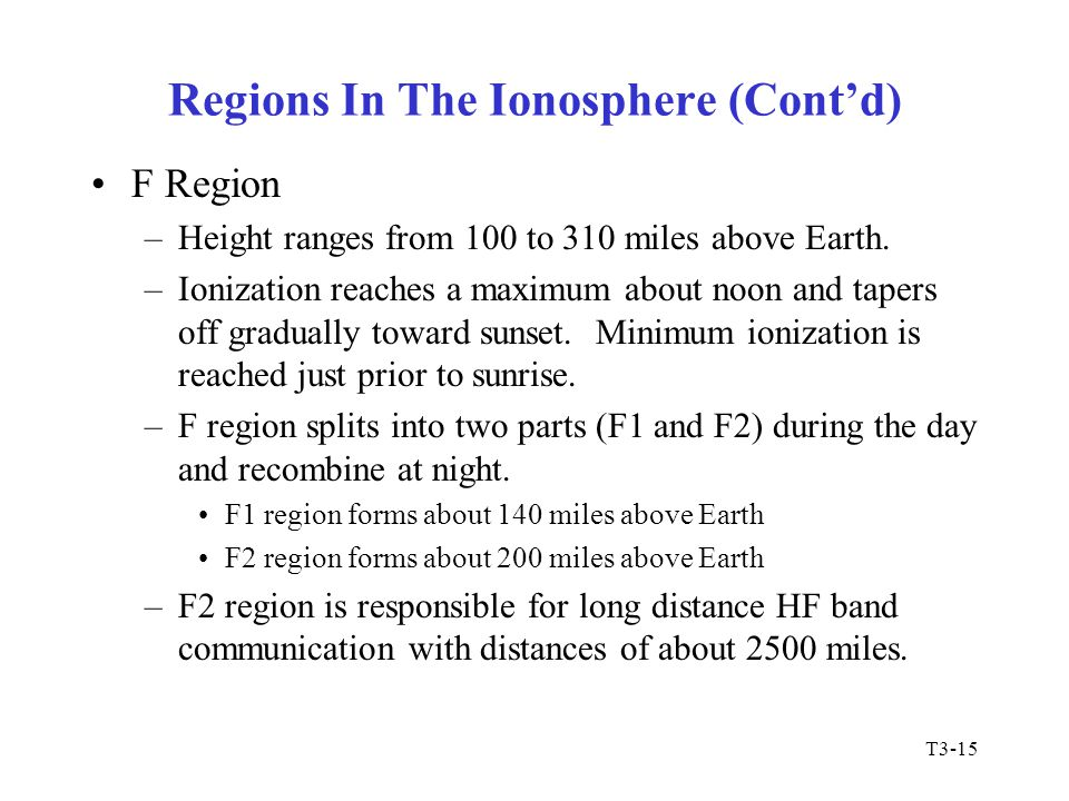 Regions In The Ionosphere (Cont'd)