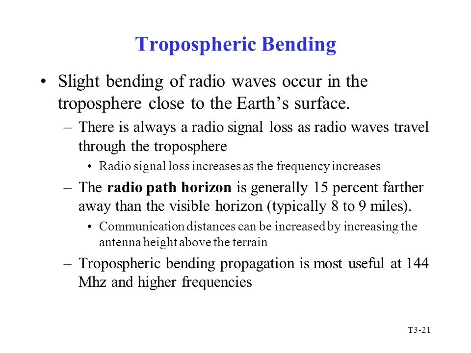 Tropospheric Bending Slight bending of radio waves occur in the troposphere close to the Earth's surface.