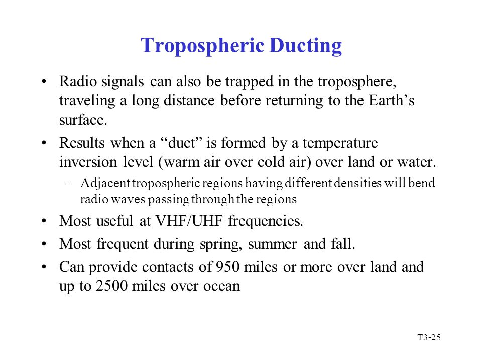 Tropospheric Ducting Radio signals can also be trapped in the troposphere, traveling a long distance before returning to the Earth's surface.
