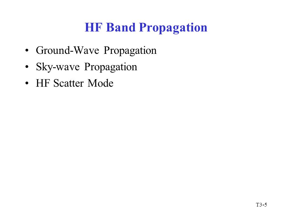 HF Band Propagation Ground-Wave Propagation Sky-wave Propagation