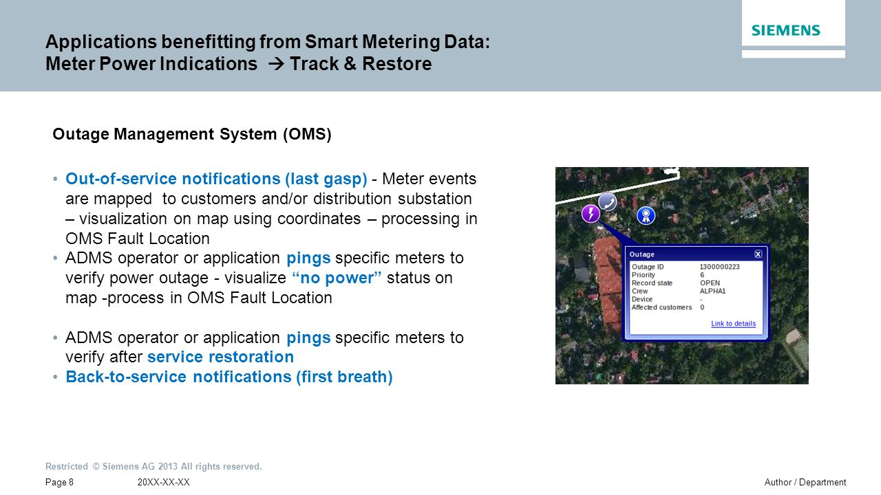 Applications benefitting from Smart Metering Data: Meter Power Indications  Track & Restore