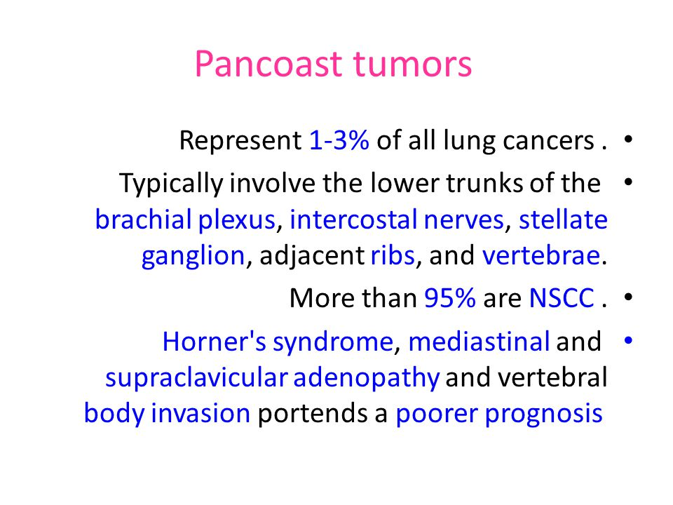 Pancoast tumors Represent 1-3% of all lung cancers .