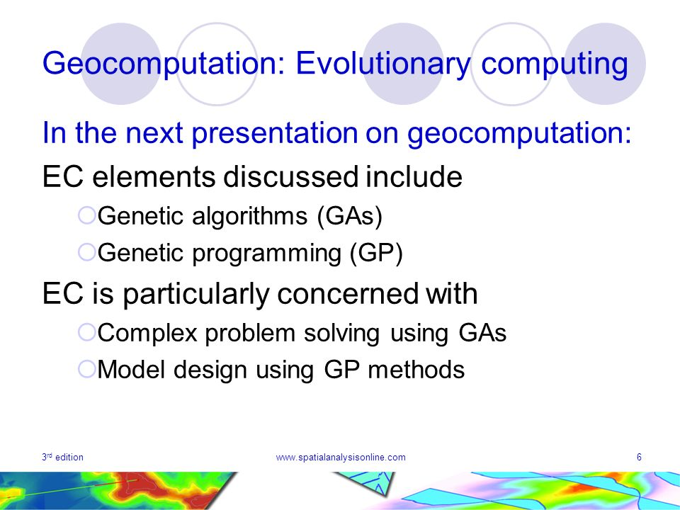 Geocomputation: Evolutionary computing