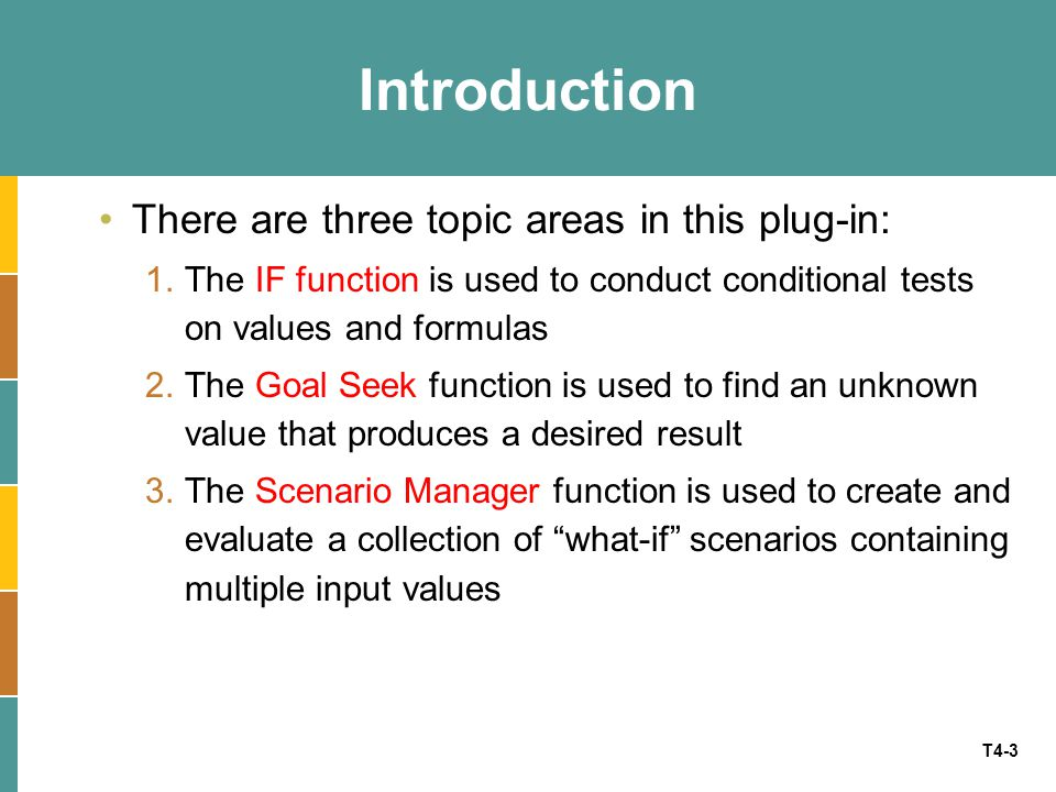 Introduction There are three topic areas in this plug-in: