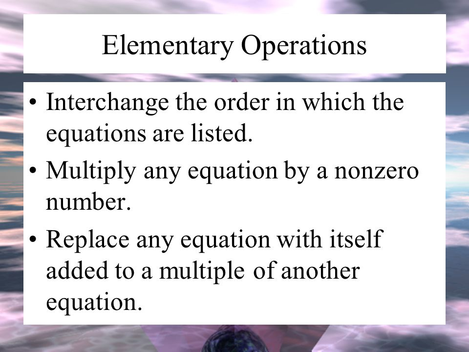 Elementary Operations