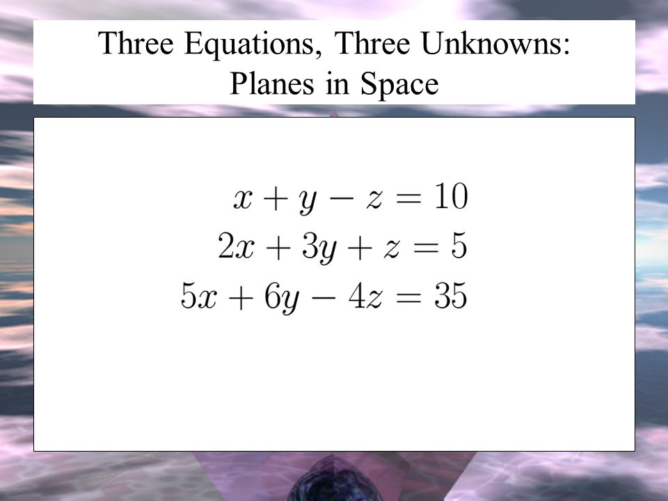 Three Equations, Three Unknowns: Planes in Space