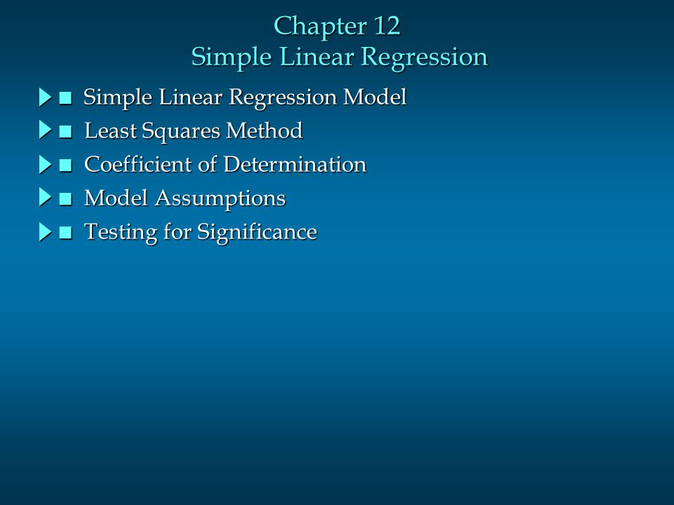 Chapter 12 Simple Linear Regression