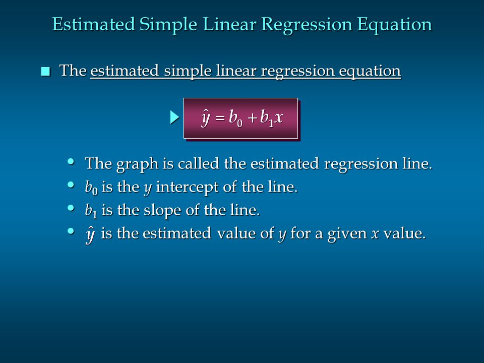 Estimated Simple Linear Regression Equation