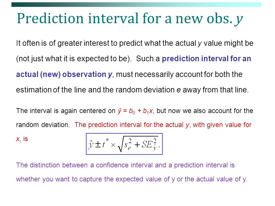 Prediction interval for a new obs. y