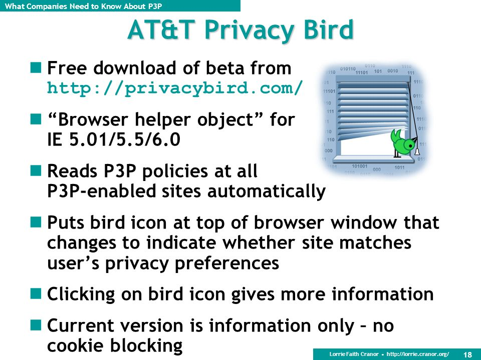 AT&T Privacy Bird Free download of beta from http://privacybird.com/