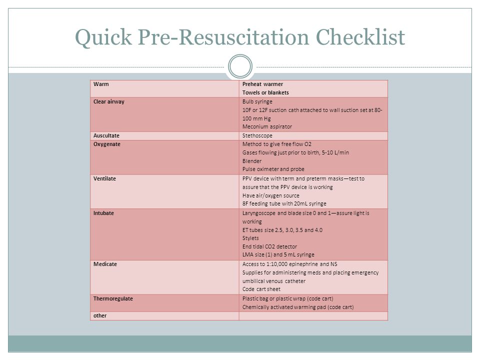 Quick Pre Resuscitation Checklist