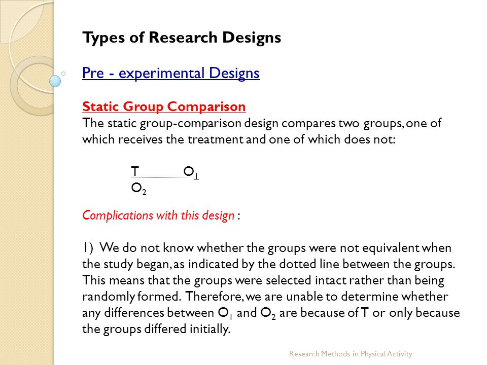 Types of Research Designs Pre - experimental Designs