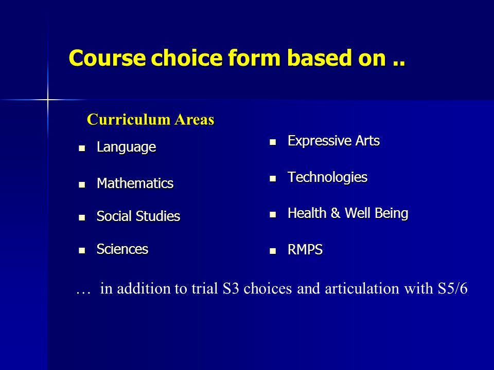Course choice form based on ..
