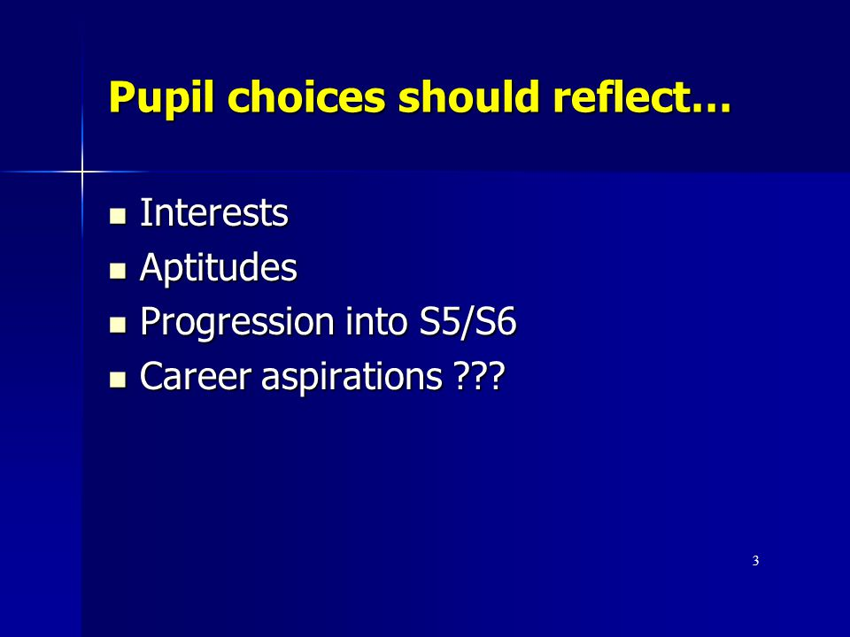 Pupil choices should reflect…