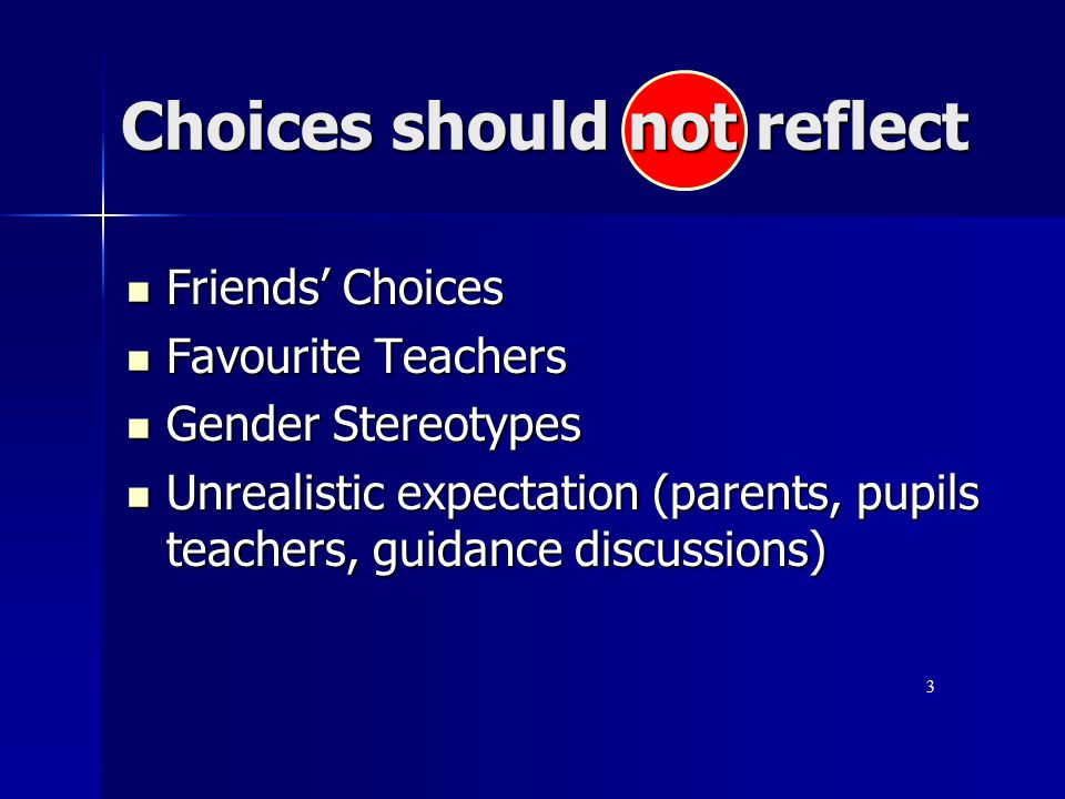 Choices should not reflect