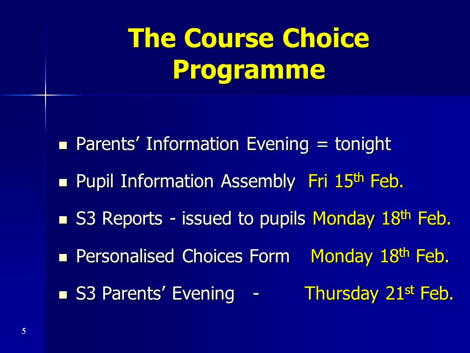 The Course Choice Programme