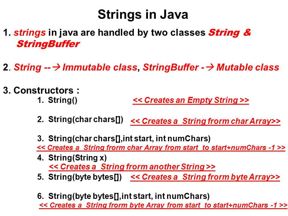 Strings in Java 1  strings in java are handled by two