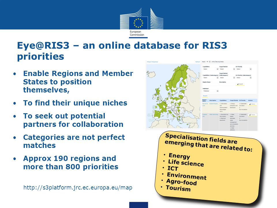 – an online database for RIS3 priorities