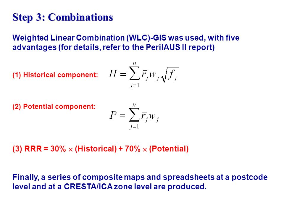 Step 3: Combinations Weighted Linear Combination (WLC)-GIS was used, with five advantages (for details, refer to the PerilAUS II report)