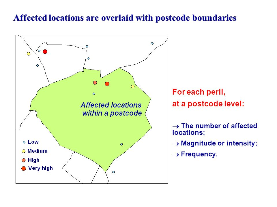 Affected locations are overlaid with postcode boundaries
