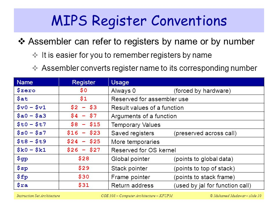MIPS Register Conventions