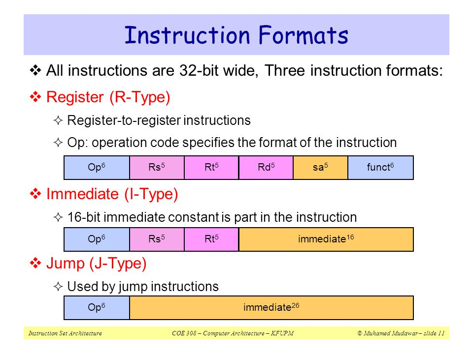 Instruction Formats All instructions are 32-bit wide, Three instruction formats: Register (R-Type)