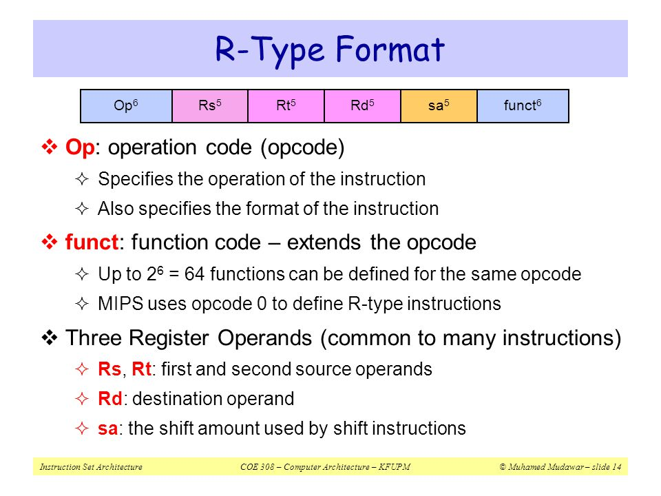 R-Type Format Op: operation code (opcode)