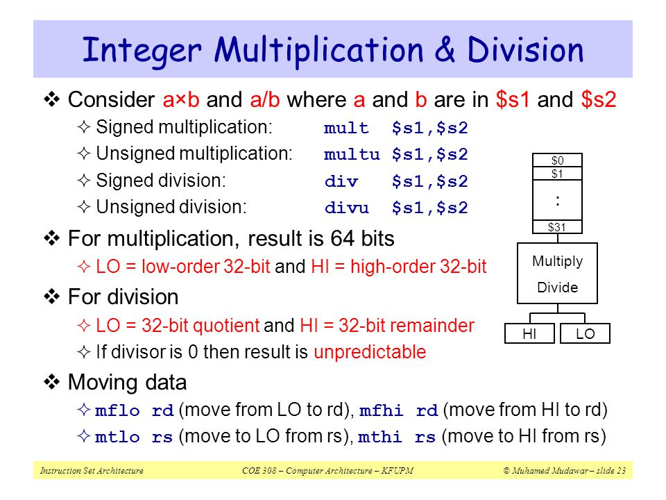 Integer Multiplication & Division