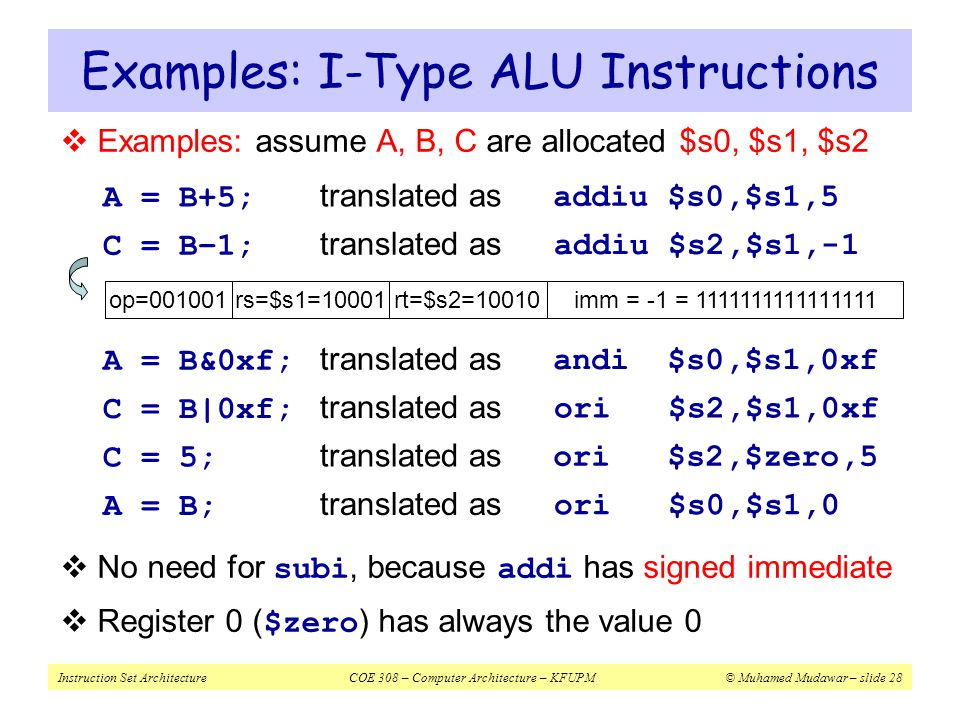 Examples: I-Type ALU Instructions