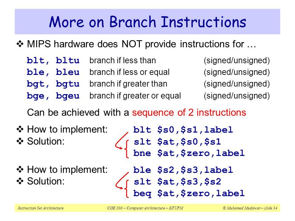 More on Branch Instructions