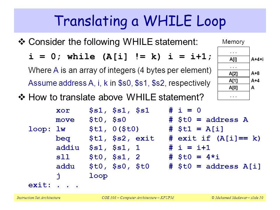 Translating a WHILE Loop