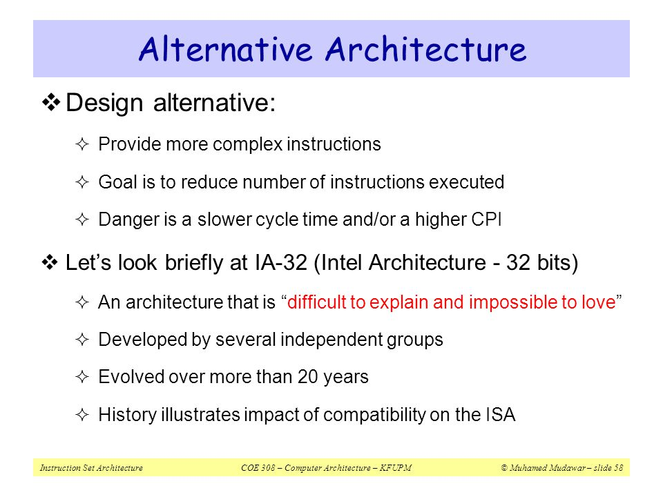 Alternative Architecture